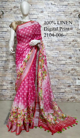 DPL18-Multi colour handloom digital printed linen saree with blouse