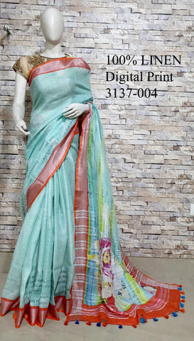 DPL19-Multi colour handloom digital printed linen saree with blouse