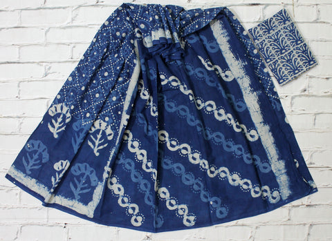 LPISPO19- baghru block printed indigo color malmal cotton saree with pompom borders
