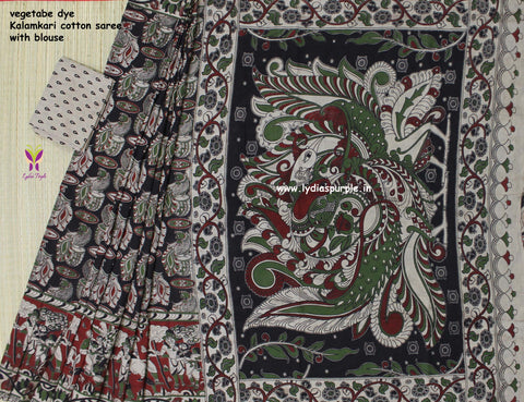 LPKCS01- vegetable dye kalamkari cotton saree - Lydiaspurple