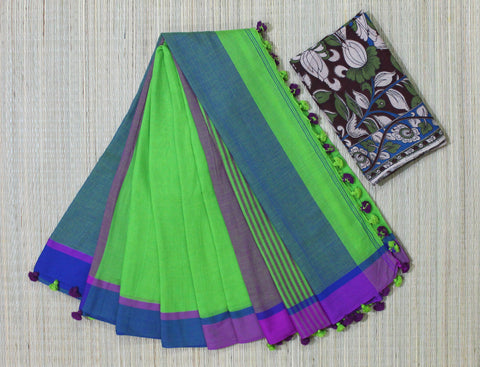 parrot green khadi cotton saree kalamkari blouse - lydiaspurple
