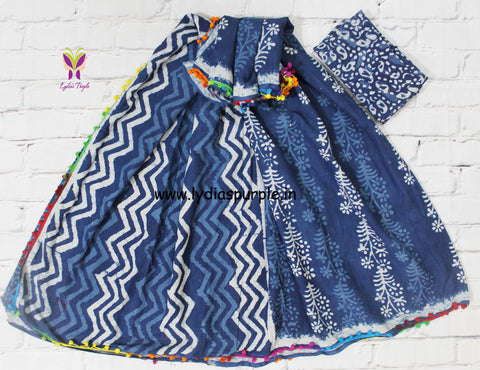 LPISPO1- baghru block printed indigo malmal cotton saree with pmpom borders - Lydiaspurple