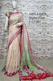 DPL20-Multi colour handloom digital printed linen saree with blouse