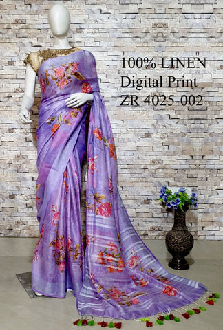 DPL21-Multi colour handloom digital printed linen saree with blouse