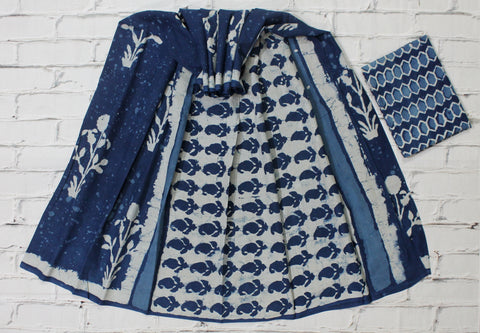 LPISPO22- baghru block printed indigo color malmal cotton saree with pompom borders