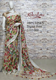 DPL23-Multi colour handloom digital printed linen saree with blouse
