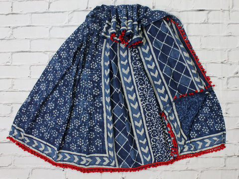 LPISPO23- baghru block printed indigo color malmal cotton saree with pompom borders