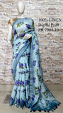 DPL24-Multi colour handloom digital printed linen saree with blouse