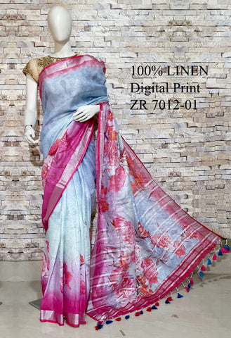 DPL26-Multi colour handloom digital printed linen saree with blouse