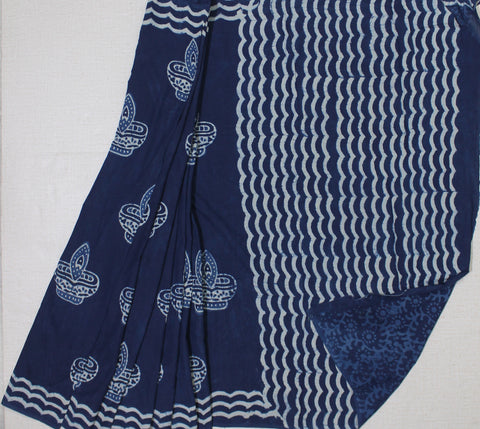 LPBPMC26- baghru diya block printed indigo malmal cotton saree with self print blouse