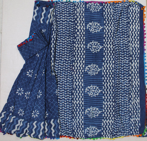 LPBPMC27- baghru block printed indigo malmal cotton saree with pom pom and self print blouse
