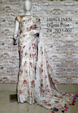 DPL28-Multi colour handloom digital printed linen saree with blouse