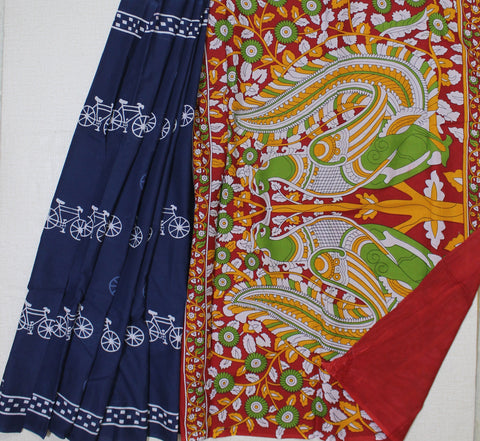 LPBPMC28- LPBPMC28-baghru block printed indigo malmal cotton saree with self print blouse and kalamkari pallu