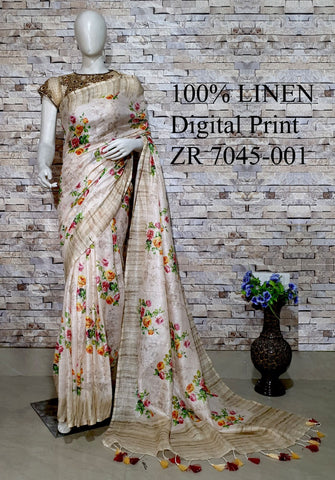 DPL29-Multi colour handloom digital printed linen saree with blouse