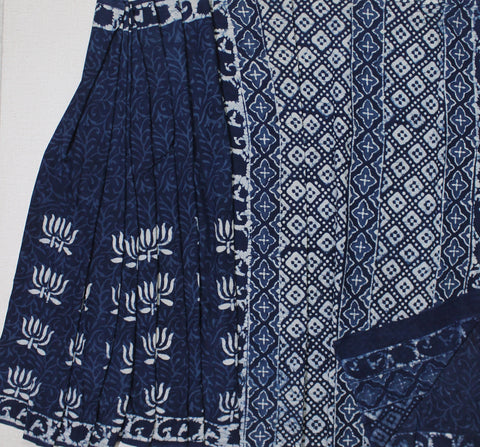 LPIS29- baghru lotus block printed indigo malmal cotton saree with blouse