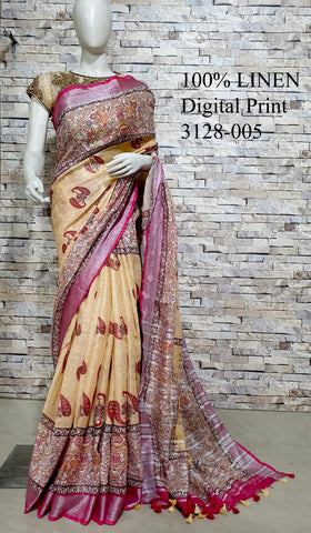 DPL30-Multi colour handloom digital printed linen saree with blouse