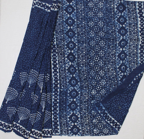 LPIS30- baghru  block printed indigo malmal cotton saree with blouse