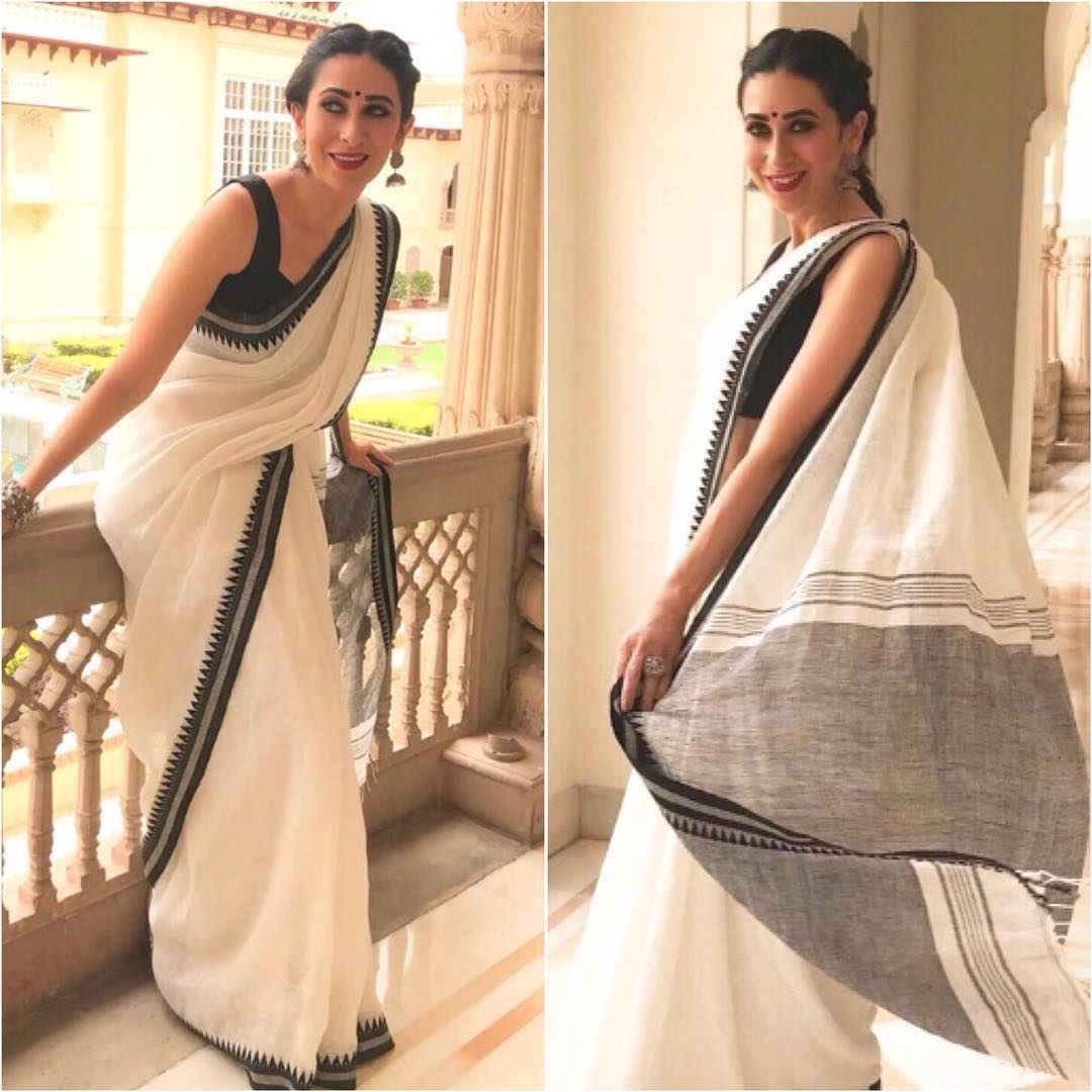 6d2949563e958 BAWL01-white linen saree with temple border and running blouse –  Lydiaspurple
