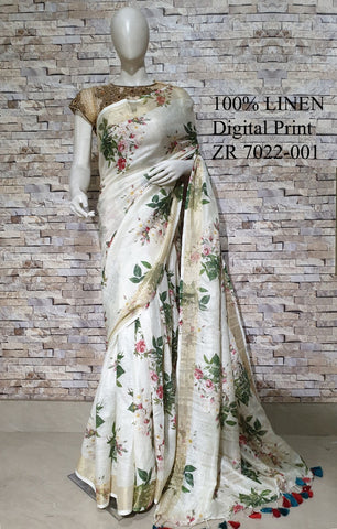 DPL31-Multi colour handloom digital printed linen saree with blouse