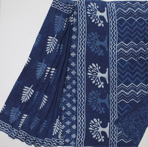 LPIS31- baghru leaf  block printed indigo malmal cotton saree with blouse