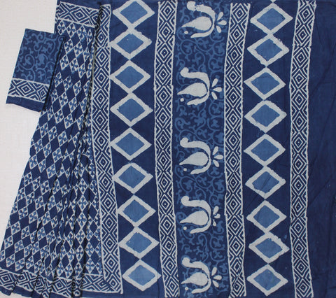 LPIS32- baghru diamond  block printed indigo malmal cotton saree with blouse