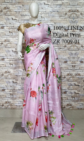 DPL33-Multi colour handloom digital printed linen saree with blouse