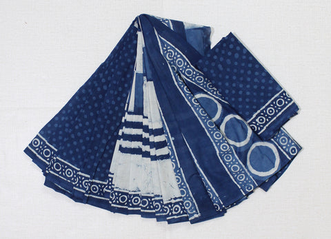 LPISP33- baghru block printed indigo malmal cotton saree with blouse