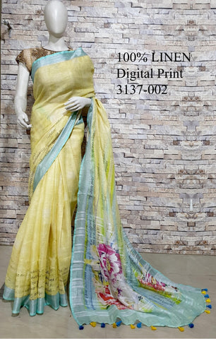 DPL34-Multi colour handloom digital printed linen saree with blouse