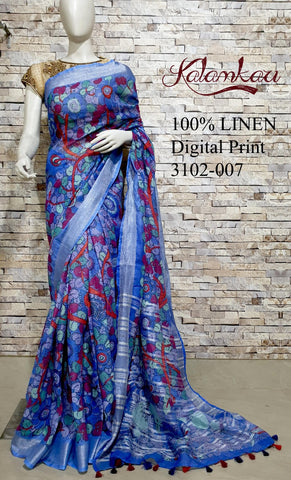 DPL35-Multi colour handloom digital printed linen saree with blouse