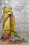 DPL36-Multi colour handloom digital printed linen saree with blouse