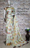 DPL37-Multi colour handloom digital printed linen saree with blouse