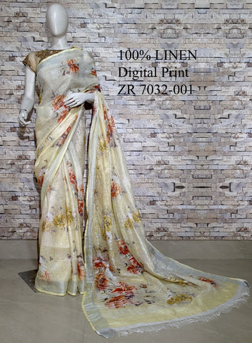 DPL38-Multi colour handloom digital printed linen saree with blouse
