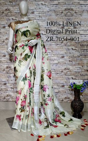 DPL39-Multi colour handloom digital printed linen saree with blouse