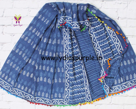 LPISPO3- baghru block printed indigo malmal cotton saree with pmpom borders - Lydiaspurple