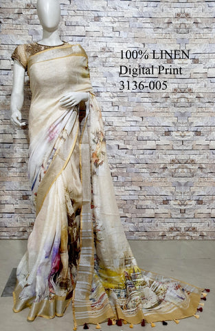DPL40-Multi colour handloom digital printed linen saree with blouse
