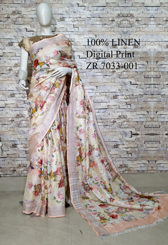 DPL41-Multi colour handloom digital printed linen saree with blouse