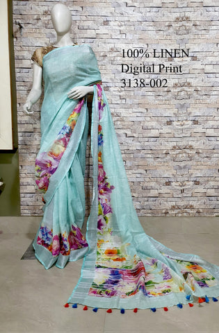 DPL42-Multi colour handloom digital printed linen saree with blouse