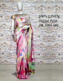 DPL43-Multi colour handloom digital printed linen saree with blouse