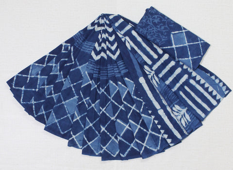 indigo malmal cotton saree