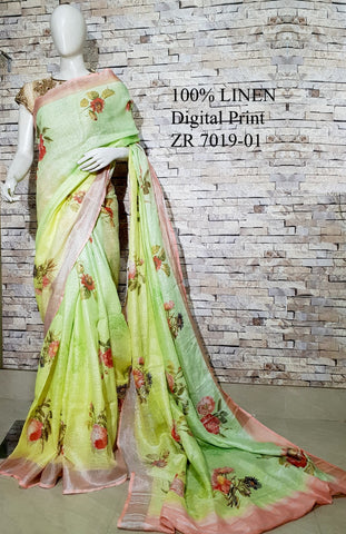 DPL44-Multi colour handloom digital printed linen saree with blouse