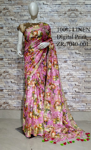 DPL46-Multi colour handloom digital printed linen saree with blouse