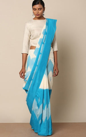 PCBLW01- Pochampally ikat Cotton Saree with sky blue & white zigzag pattern - Lydiaspurple