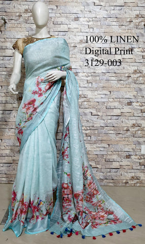 DPL47-Multi colour handloom digital printed linen saree with blouse