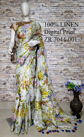 DPL48-Multi colour handloom digital printed linen saree with blouse