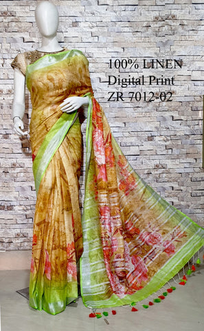 DPL49-Multi colour handloom digital printed linen saree with blouse