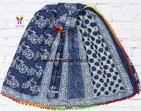 LPISPO4- baghru block printed indigo malmal cotton saree with pmpom borders - Lydiaspurple