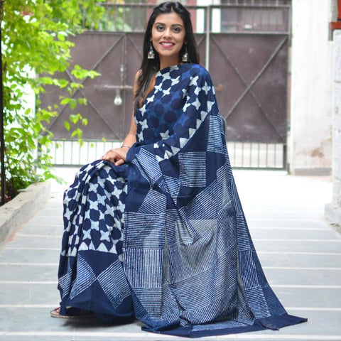 KPISMCS-  indigo malmal cotton saree with self printed blouse