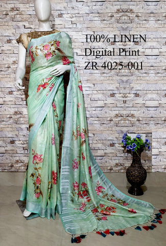 DPL50-Multi colour handloom digital printed linen saree with blouse