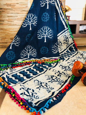 LPIS 50 - baghru  printed malmal indigo cotton saree with pompom border
