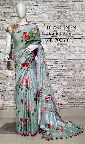 DPL51-Multi colour handloom digital printed linen saree with blouse